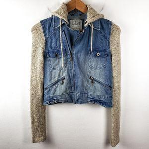 Billabong | Jean Hooded Denim Zip Up Jacket Small